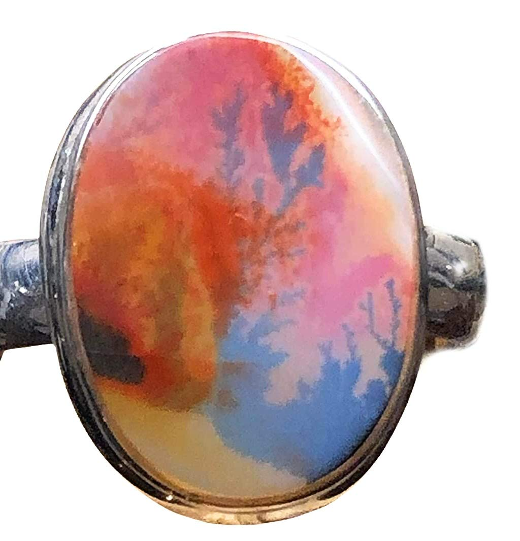 Pink Dendrite Agate Handmade Sterling Siver Plated Pendant 1.75 Best Gift! Best Choice!