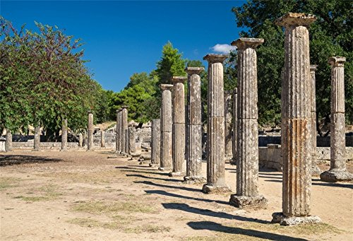 LFEEY 10x8ft Ancient Greece Olympia Backdrop Antique Olympic Games Historic Site Archaeology Peloponnese Greek Temple Photography Background Photo Studio -