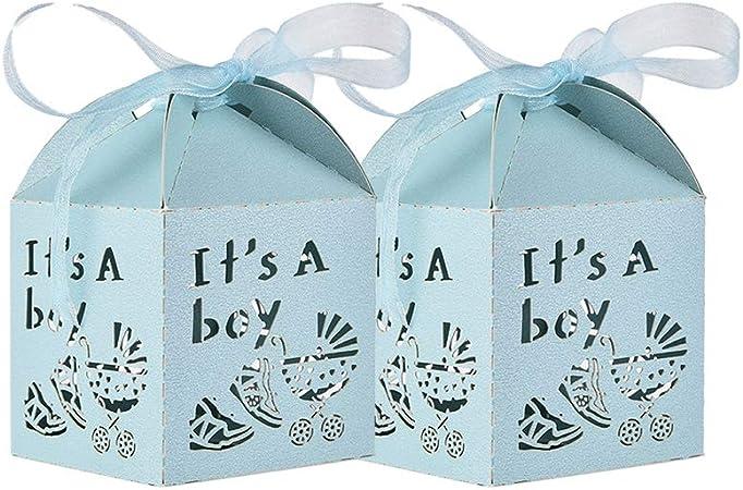 50 Piezas Azul Caja Bombones Regalo pequeña Bautizo para Niño, Exquisito Caja Caramelos con patrón Coche de bebé y cintas elegantes - 【 5 * 5 * 8cm 】 Baby Shower Decoración de Escritorio: Amazon.es: Hogar