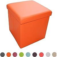 Stylehome® Sitzbank Sitzhocker Aufbewahrungsbox mit Stauraum faltbar belastbar bis 300 kg Kunstleder 38 x 38 x 38 cm