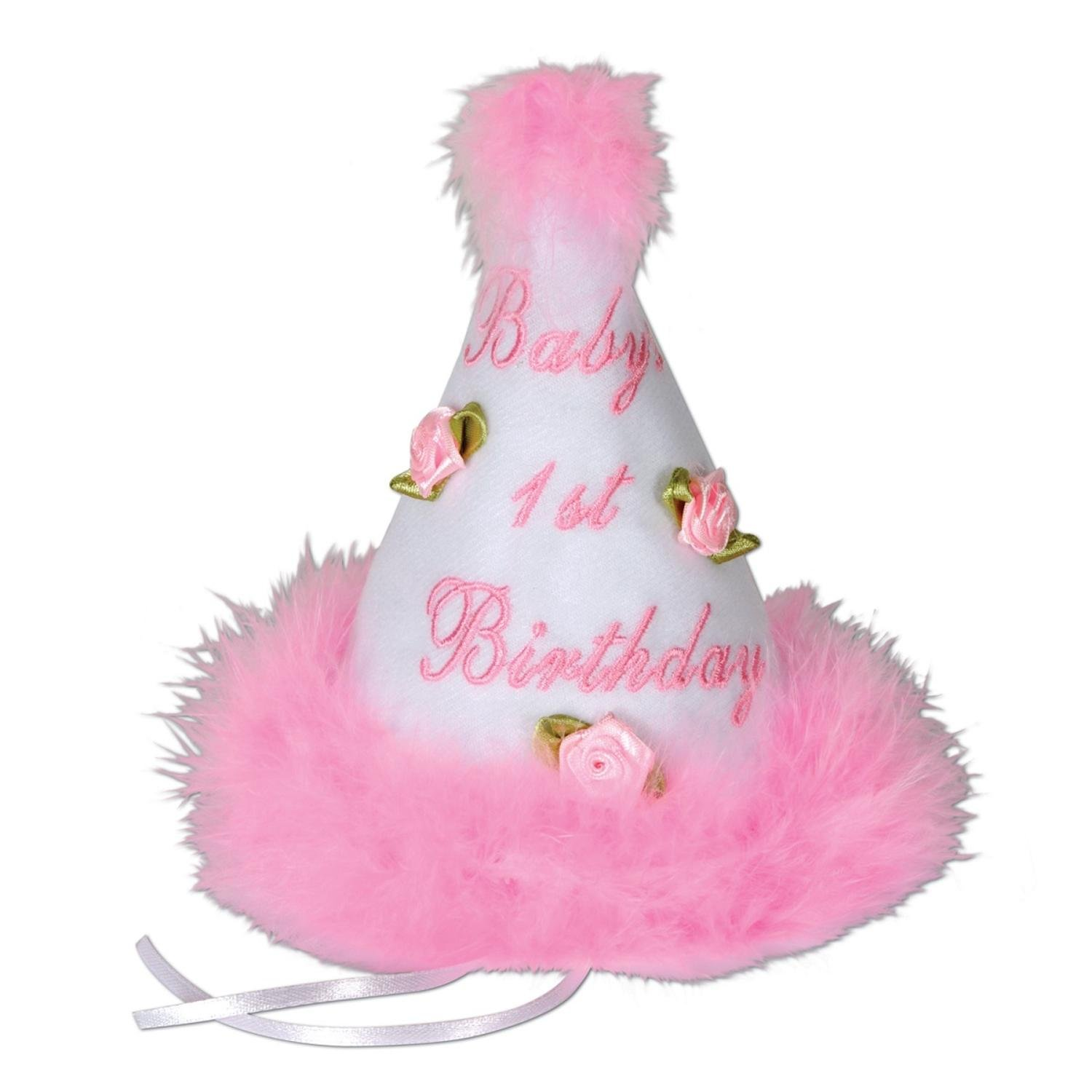 Club Pack of 6 Medium Head Size Baby's 1st Birthday Pink Party Cone Hat with Ribbon Ties 6.5'' by Party Central