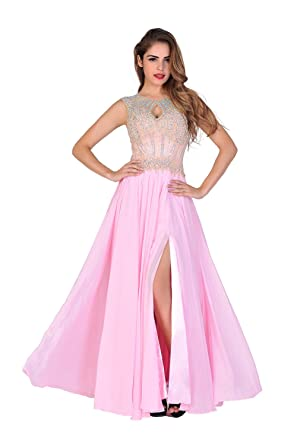 Chic Belle Womens Sexy Prom Dress Sleeveless Beaded Pink Cocktail Gowns Size 6