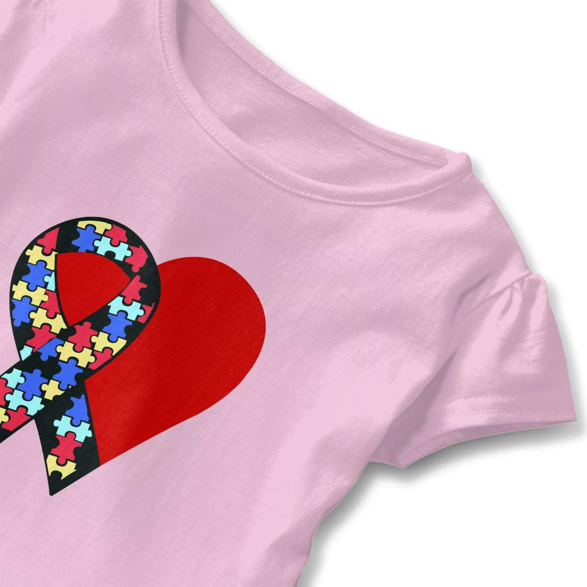 ZP-CCYF Ribbon Heart Autism Awareness Badge Toddler Baby Girl Ruffle Short Sleeve T-Shirt Comfortable Cotton T Shirts