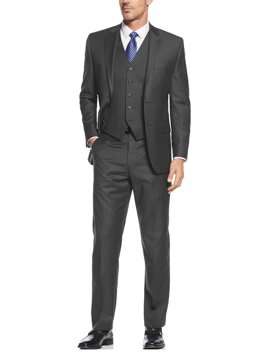 Salvatore Exte Men's Suit 3-Piece Two Button Blazer Jacket Flat Front Pants (40 Regular US / 50R EU / W 34'', Charcoal) by Salvatore Exte