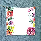 Analisahome Lightweight Towel Decor Collection Floral Frame with Summer Flowers Roses Natural Picture Pink Navy Blue for Home, Hotel and Spa W13.8 x W13.8 inch