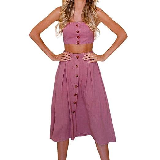 fd1d8cb00b Women's Crop Top Skirt Set Summer Button Bowknot Sleeveless Beach Party  Dresses (S, Hot