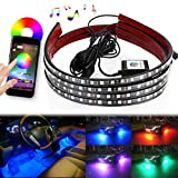 DITRIO 4Pcs Car LED Underglow / Underdash / Glow / Undercar Lights Kit, Interior Dash Lights Strip, RGB Multicolor Neon Underbody System Lights With APP Bluetooth for iPhone Android (Pack of 4)