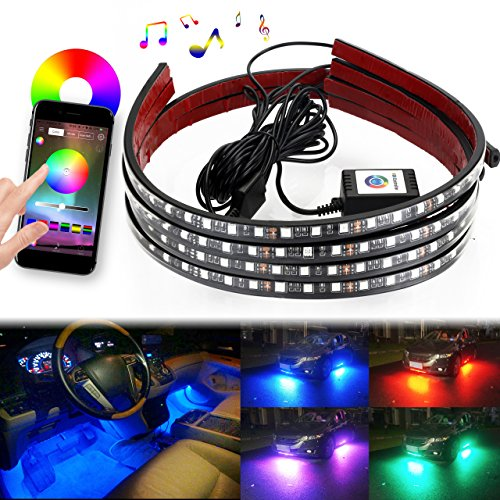 DITRIO 4Pcs Car LED Underglow/Underdash/Glow/Undercar Lights Kit, Interior Dash Lights Strip, RGB Multicolor Neon Underbody System Lights With APP BT for iPhone Android (Pack of 4) - Underglow Neon Lights