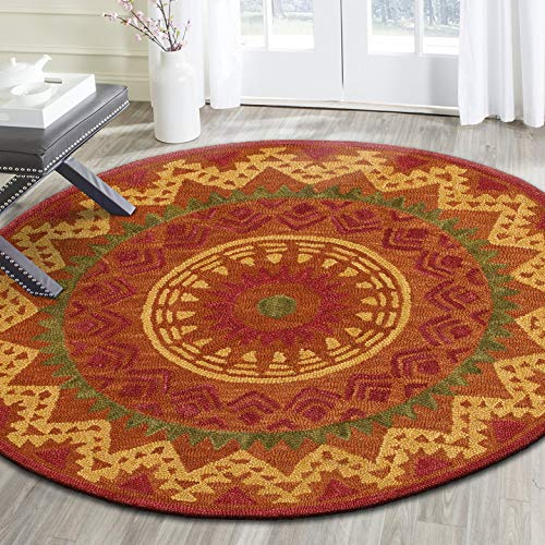 LR Resources Area Dazzle LR54059-RUS40RD Rust X 4 ft Plush Indoor Round Rugs, 4 x 4