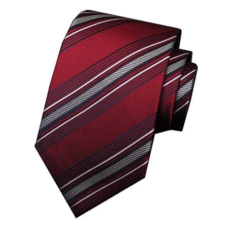 Y-WEIFENG Corbatas Grises y Rojas Corbata Formal de Seda para ...
