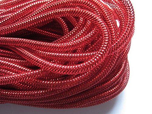 YYCRAFT One Roll 30 Yards Solid Mesh Tube Deco Flex for Wreaths Cyberlox Crin Crafts 8mm 3/8-Inch (All Red)