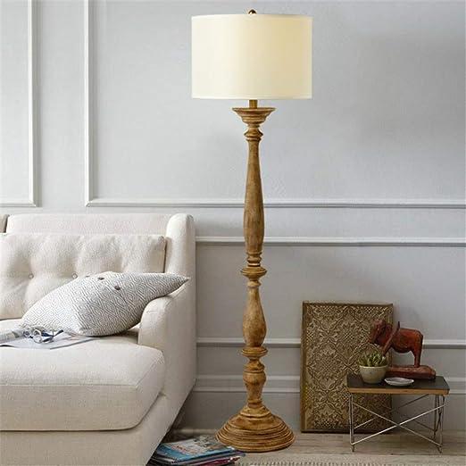 Lámpara de pie Rústica Haga la lámpara de pie de madera vieja 1.56M con pantalla de tela redonda para sala de estar Dormitorio Oficina de lectura junto a la cama: Amazon.es: Iluminación