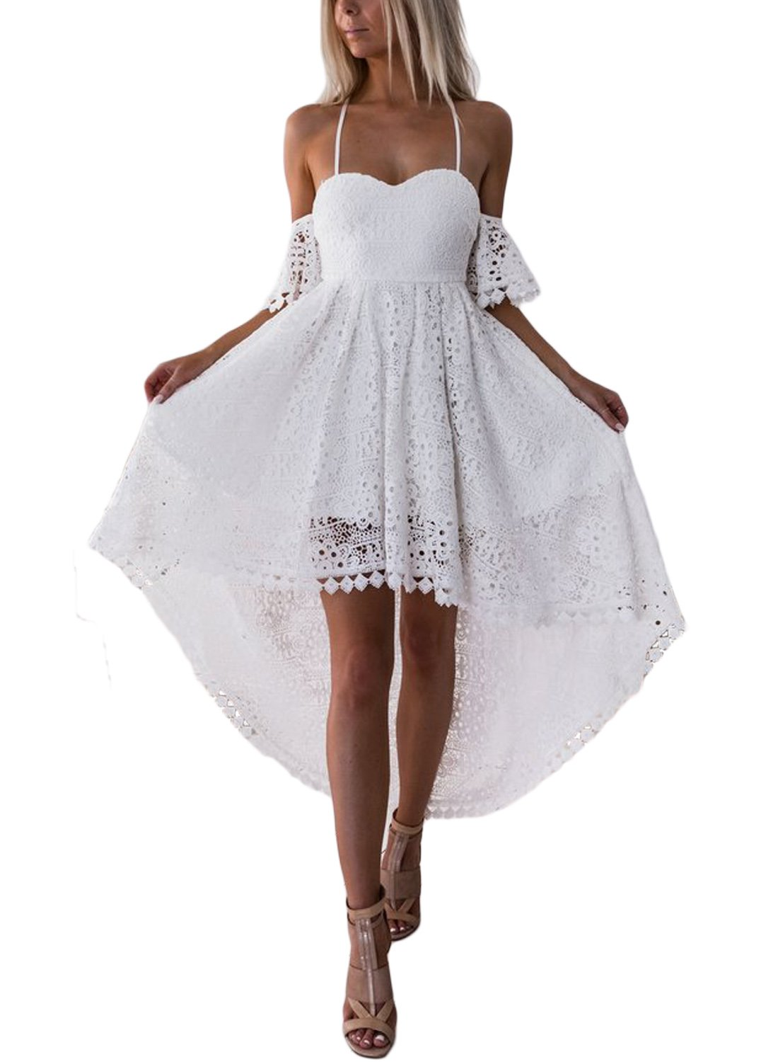 AlvaQ Women's Ladies Plus Size Heart Neck Short Sleeve Spaghetti Strap Cold Shouler Lace Hollow High Low Cocktail Party Dress Bridesmaid Wedding Dresses Large White