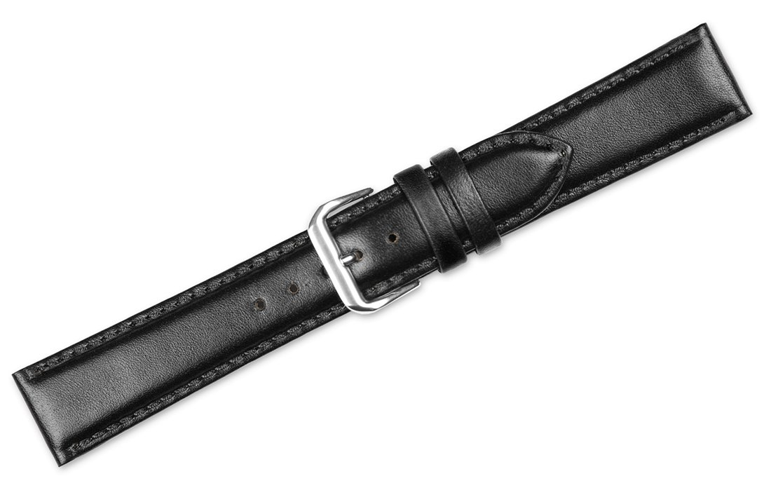 Smooth Leather Watchband Black 12mm Short Watch band - by deBeer by deBeer (Image #3)