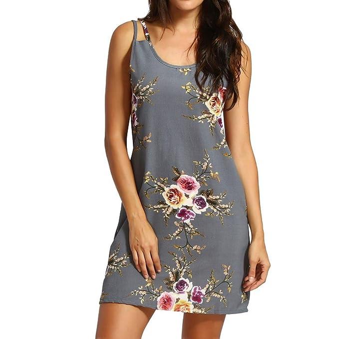 19ed796d8fe0c6 Amphia Damen Kleid Strandkleid Blumen Druckkleid Bandeaukleid Floral  Sommerkleid Spaghettiträger Kleid (Grau, S)
