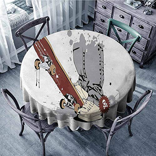 ScottDecor Summer Round Tablecloth Teen Room,Skateboard with Boy Feet in The Sneakers and Jeans Illustration,Grey Cream Chestnut Brown Outdoor Picnics Diameter 36