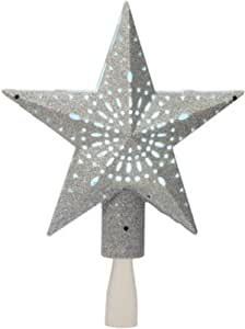 """Details about  /Christmas 6/"""" Silver Tinsel Star 11 White Lights Tree Topper"""