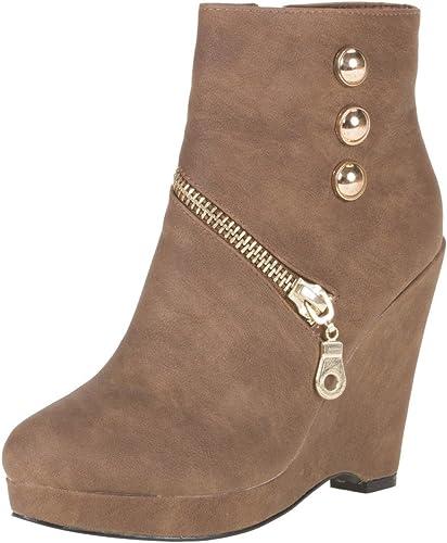 Damen Schuhe Stiefeletten GEFÜTTERTE KEIL Boots Braun 40
