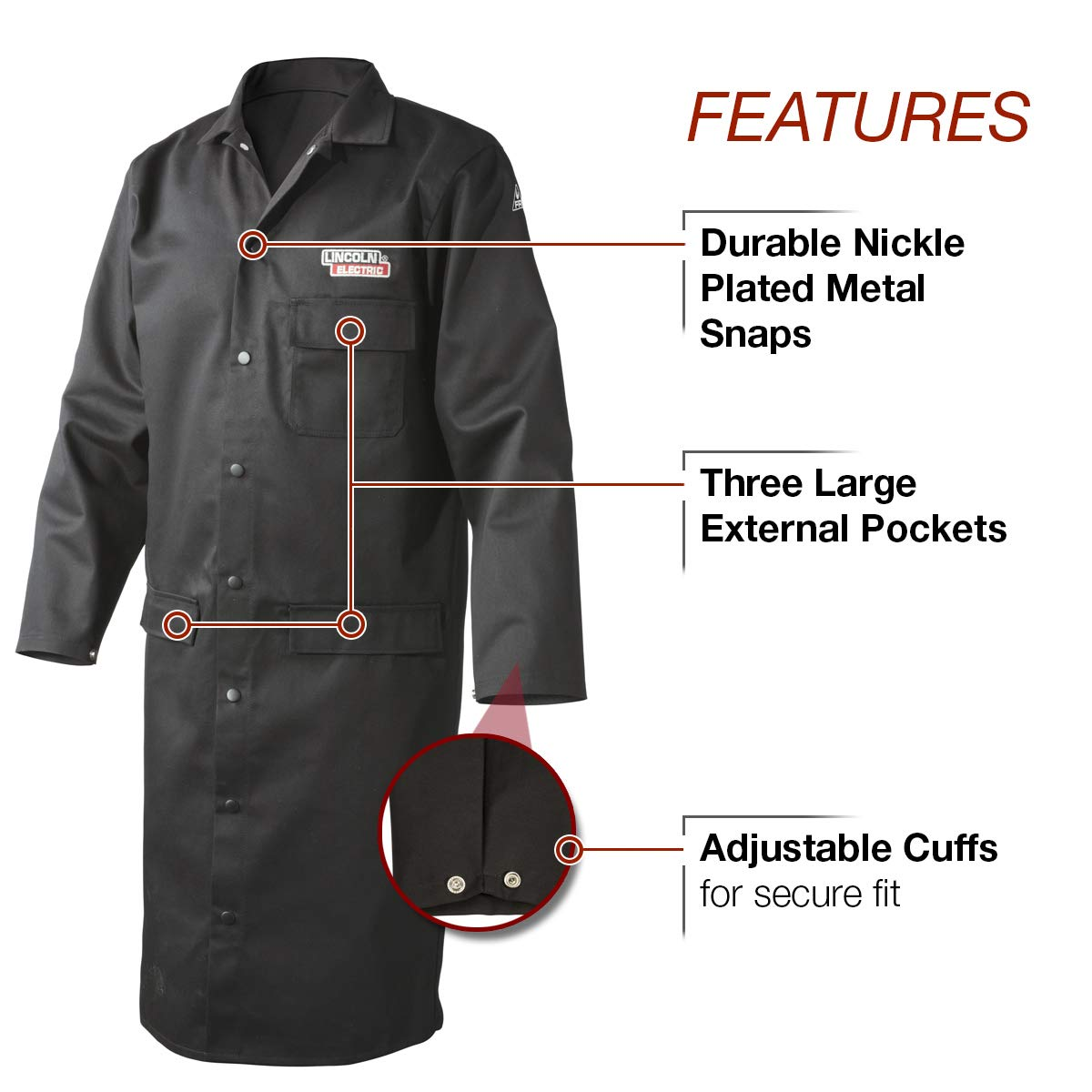 Lincoln Electric Welding Lab Coat | Premium Flame Resistant (FR) Cotton | 45'' Length | Black | Large | K3112-L by Lincoln Electric (Image #3)
