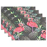 """WOZO Pink Flamingos Pineapple Placemat Table Mat, Tropical Exotic Bird 12"""" x 18"""" Polyester Table Place Mat for Kitchen Dining Room 1 Piece"""