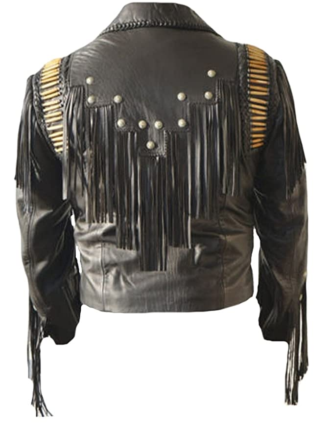 Classyak Mens Cowboy Leather Fringed Jacket Black