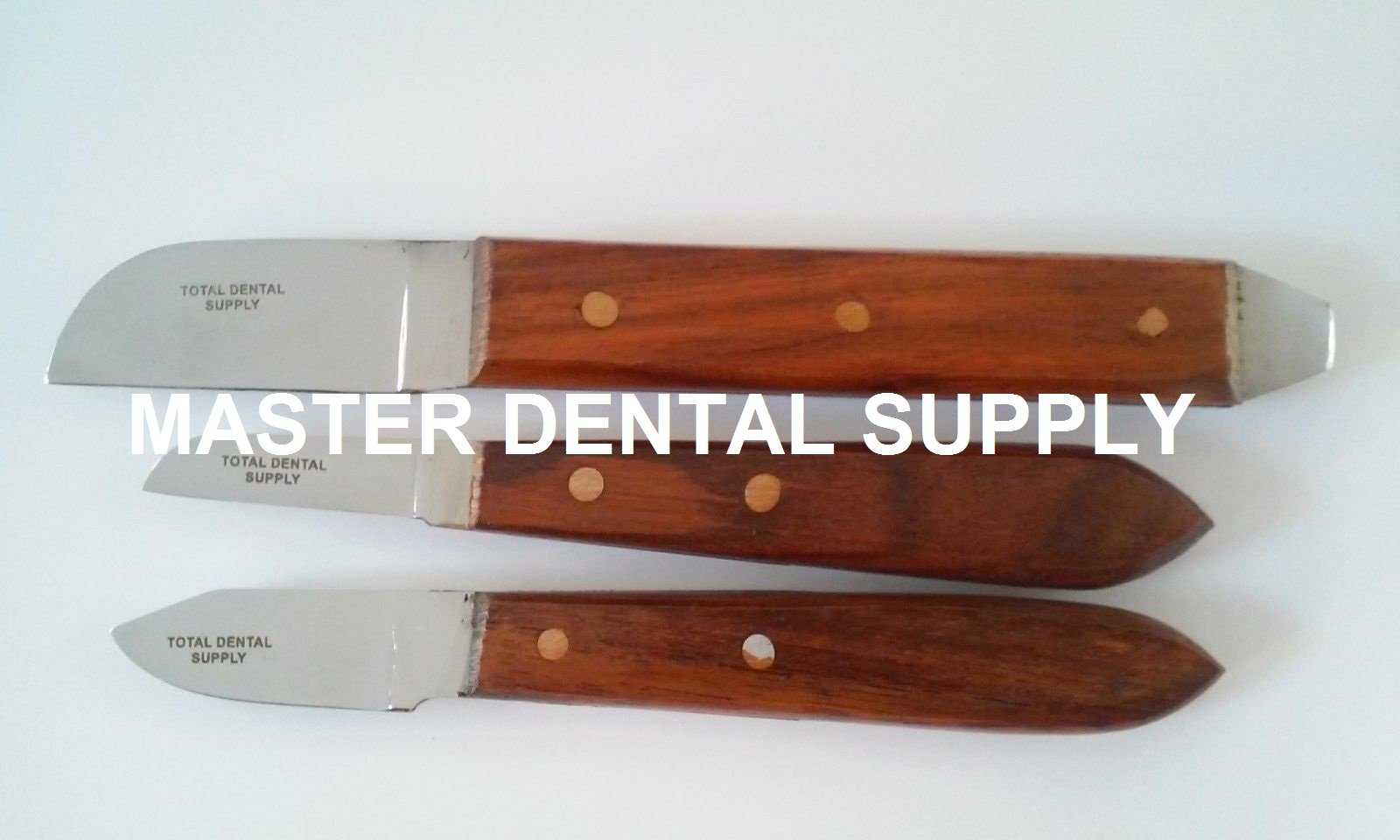 Set of 3 Dental Lab Plaster Knives includes one each 6R, 7R and 12R Knife as pictured. Great also for Hobby or Carving. Wooden Handle