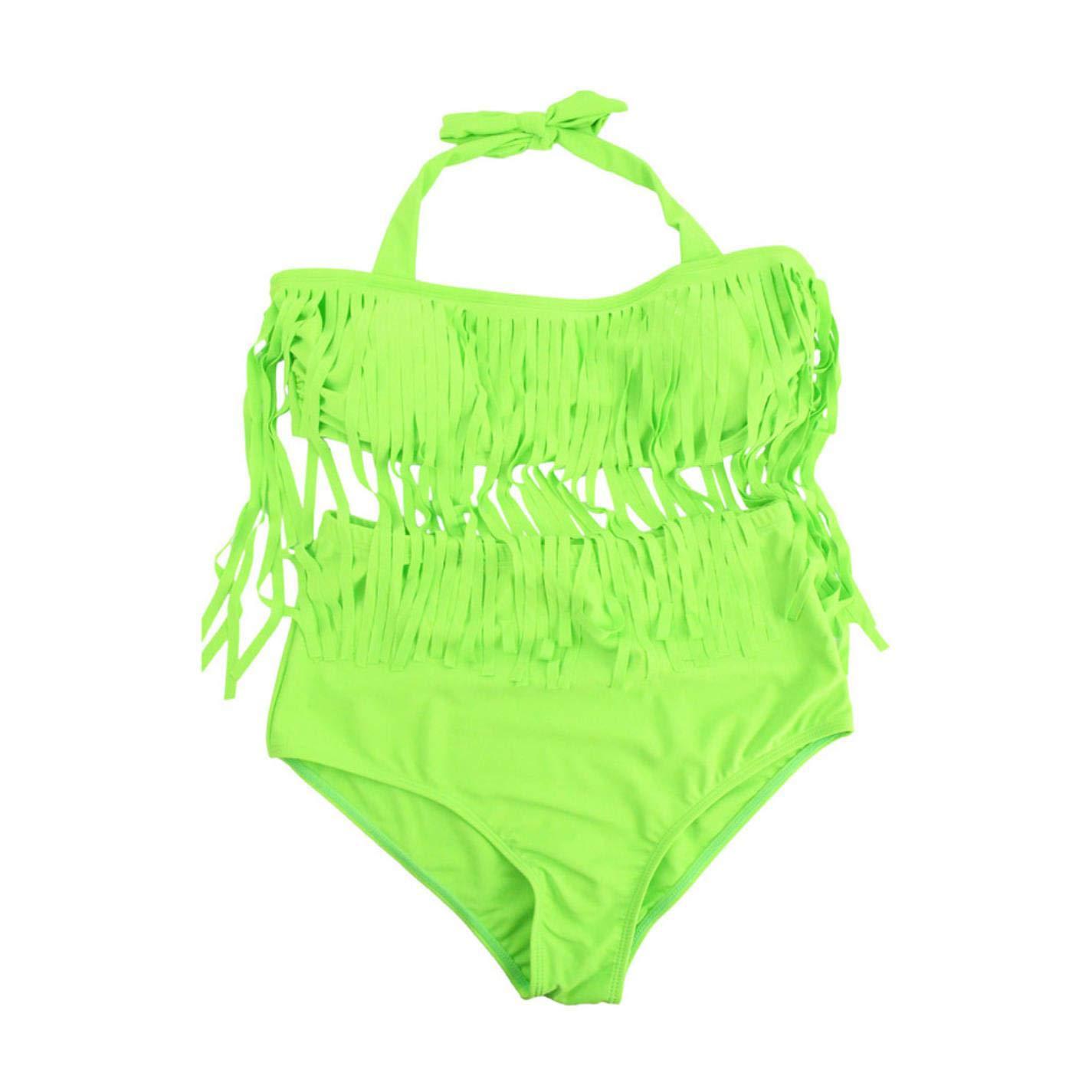 QVKis Women Plus Size Tassel Tie at Neck High Waist Push up Swimwear