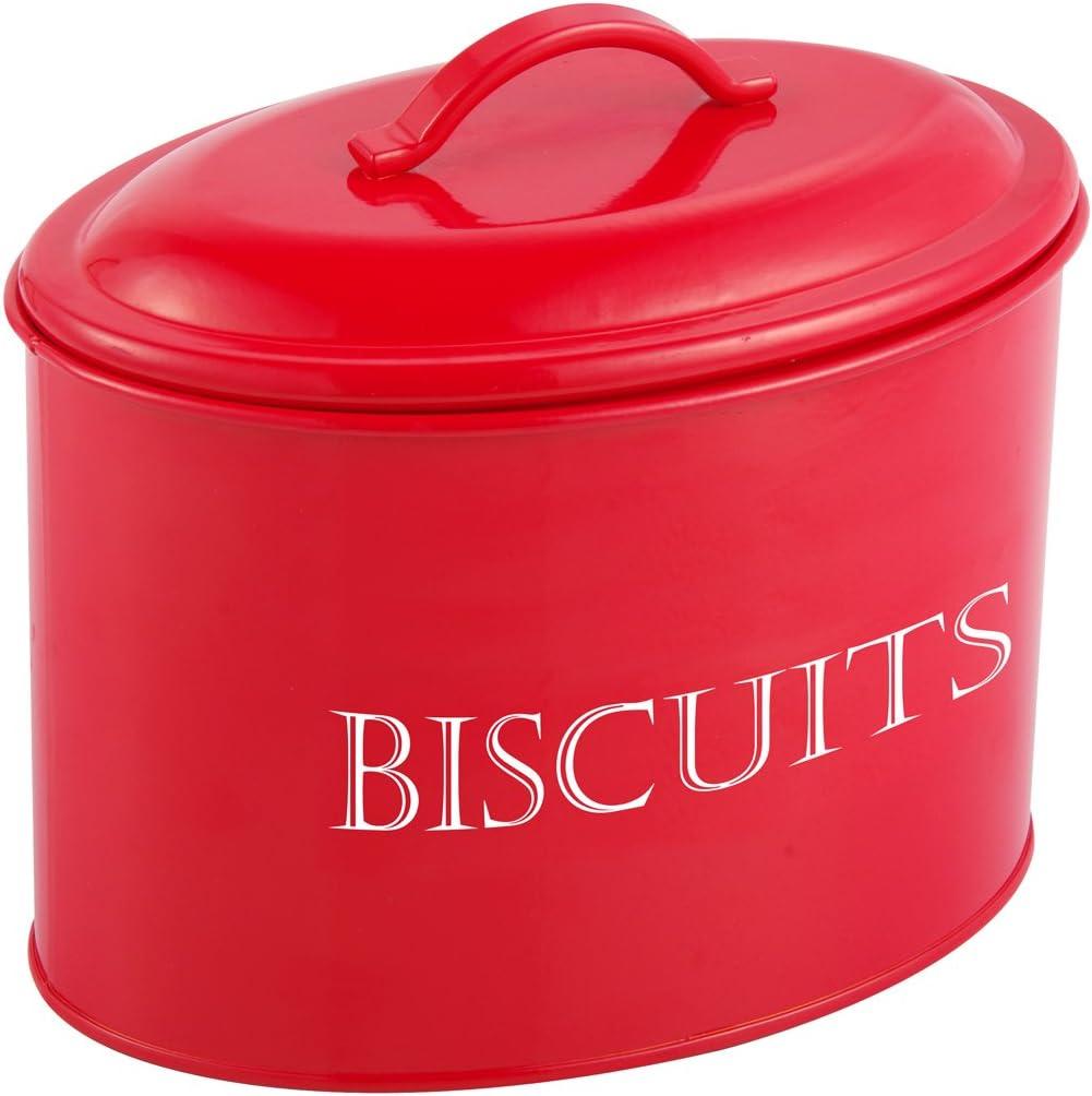 Caja de galletas metal, 2,5 L, color rojo: Amazon.es: Hogar