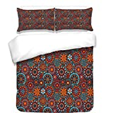 iPrint Duvet Cover Set,Galaxy,Image of Fantasy Movie Set Town of Fantasy Planet Out of Space Galaxy Wars Themed,Brown Blue,Best Bedding Gifts for Family Or Friends