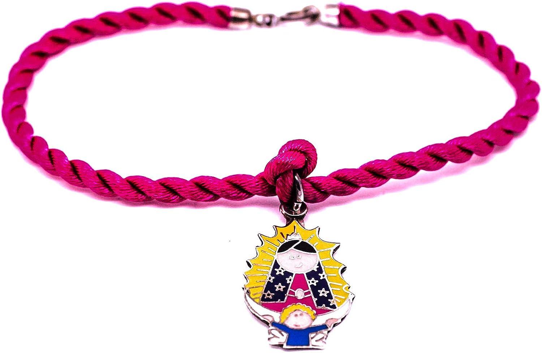 Kokomorocco Pulsera con Medalla Virgen de Guadalupe Mexicana de Plata de Ley esmaltada, cordón de Seda Trenzado, Pulsera para Mujer o niña Regalos Originales