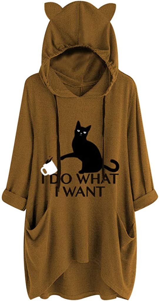 Photno I Do Want I Want Print Hooded Tops for Women Plus Size Solid Pocket Pullover Casual Loose Blouse Sweatshirt