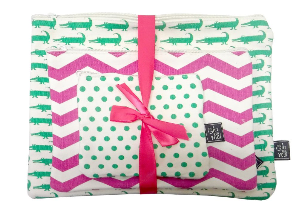Set of 3 Cosmetic Bags Cotton Pouch Gift Set Nautical Tropical Designs (Alligator)