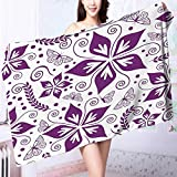 Luxury Bath Sheet Seamless floral wallpaper Use for Sports, Travel, Fitness, Yoga L39.4 x W19.7 INCH