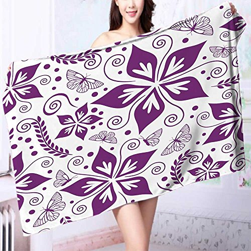 Luxury Bath Sheet Seamless floral wallpaper Use for Sports, Travel, Fitness, Yoga L39.4 x W19.7 INCH by L-QN