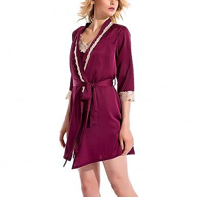 women sexy sleepdress+bathrobe two-piece robe&gown set lace embroidery silk sleepwear big size