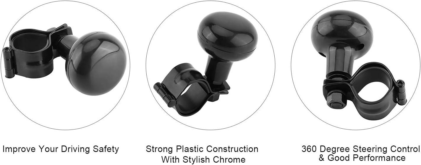 Keenso Lenkradknopf Fahrzeuglenkknopf Universal Car Steering Ball Hochleistungslenkkugel Schwarz