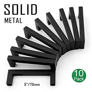 Koofizo Solid Square Bar Cabinet Handle - Black Furniture Pull, 3 Inch/76mm Screwhole Distance, 10-Pack for Kitchen Cupboard Door, Bedroom Dresser Drawer, Bathroom Wardrobe Hardware