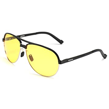 771e5503c1 Soxick® Mens HD Metal Polarized Night Driving Glasses Sports Sunglasses  (Black Frame Yellow Lens-4)
