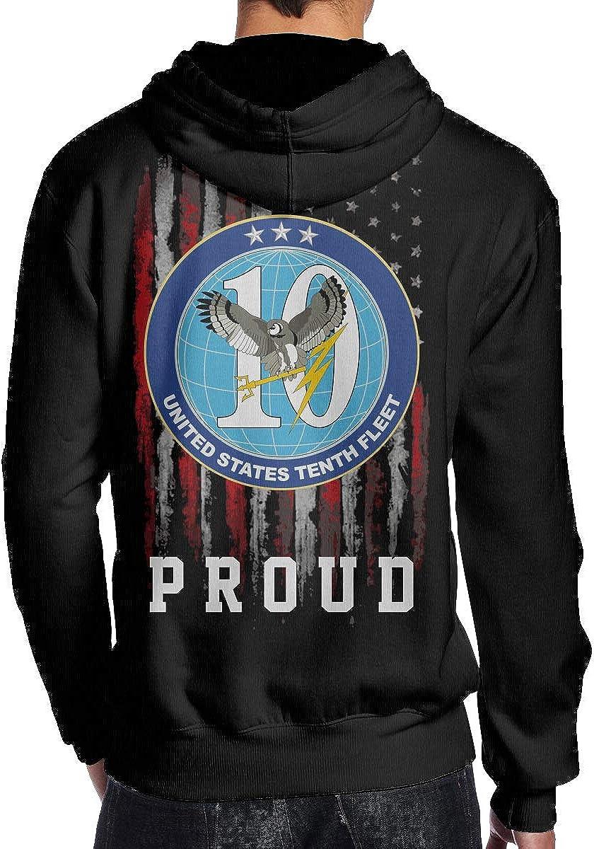 THEBUONUINV Proud American Flag US Navy 10th Fleet Mens Hoodie Hooded Sweatshirt