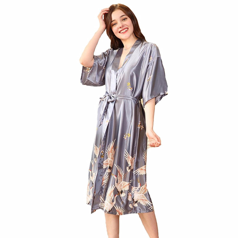 192bcd33f15447 dauerhafte Modellierung Edler Morgenmantel Kimono aus Satin lang  Größen,TieNew ange Kimonos für Damen Bademantel