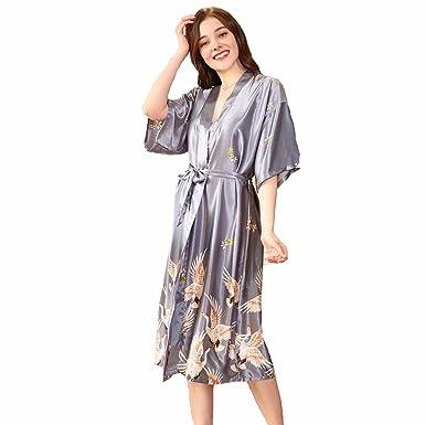 TieNew Women s Long Satin Wrapover Dressing Kimono Gown 8c815d7c5
