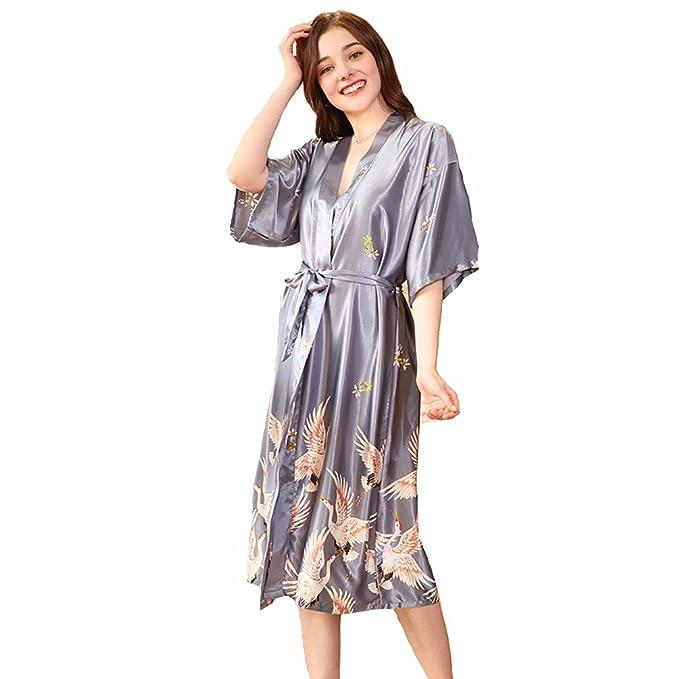 TieNew Pijama Lencería Kimono Largo Pavo de satén y Estampado Floral para Mujer, Mujer Corto Kimono Batas Baño,Camison Mujer Corto Lencería Satén Casa Cama ...