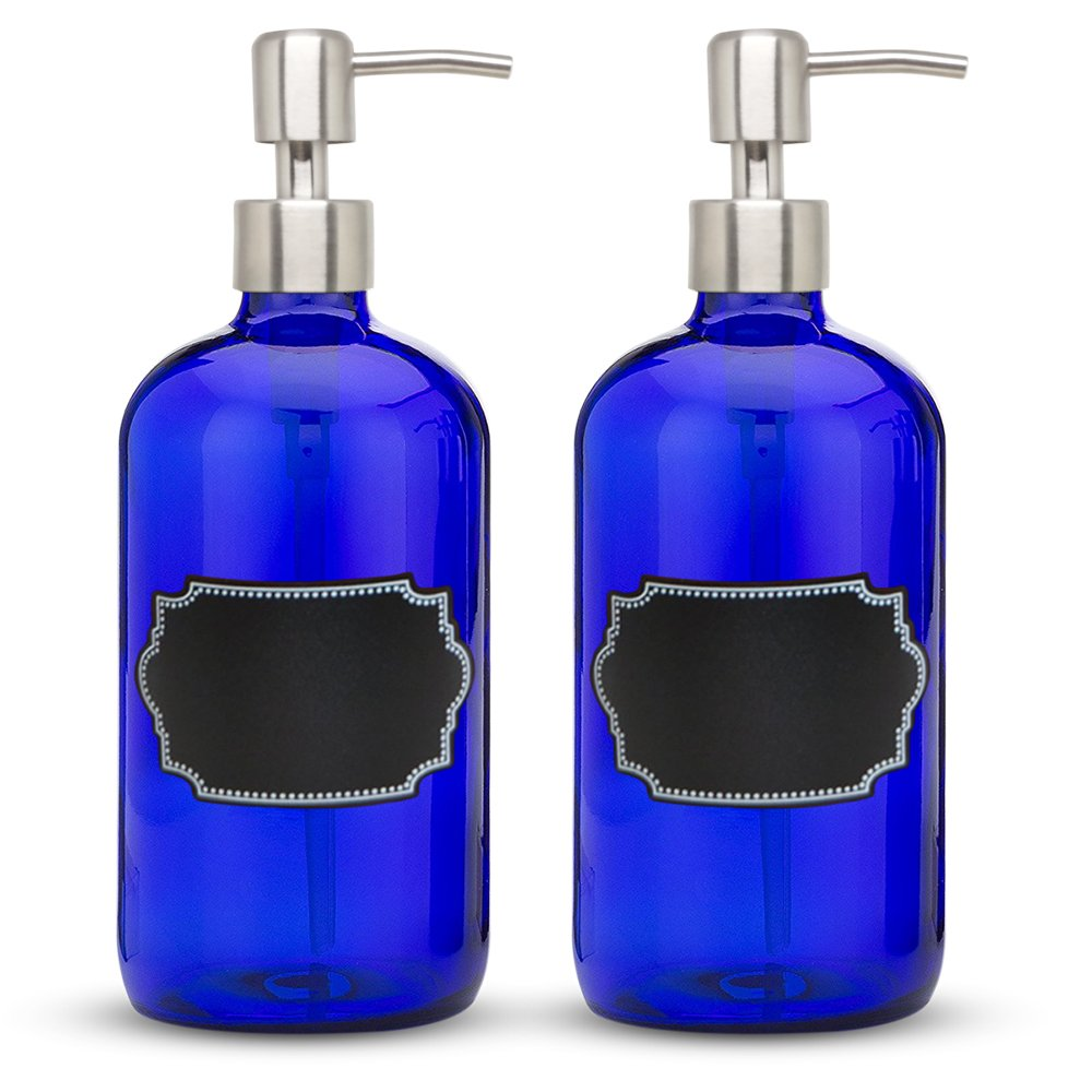 2-Pack - 16oz 480 mL Cobalt Blue Glass Hand Soap Dispenser with Stainless Steel Pumps, Apothecary Boston Round Bottles with Chalkboard Labels, Great for Essential Oils, Lotions, Liquid Soaps Grace