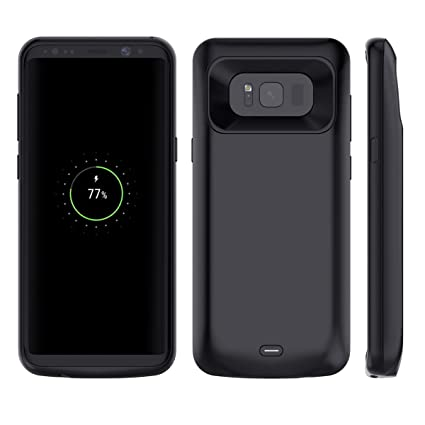Galaxy S8 Plus Battery Case, Moonmini 5500mAh Rechargeable External Portable Power Bank Pack Case Extended Backup Charging Case Full Protection Shell ...