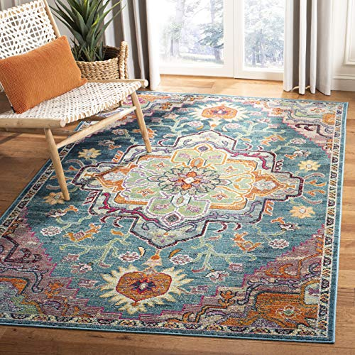 Safavieh CRS501T-9 Crystal Collection Area Rug, 9' x 12', Teal/Rose (Area Rugs 9x12 Teal)