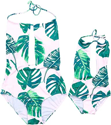 Mom and Me Swimwear Family Matching Swimsuit Beachwear One-Piece Halter Backless