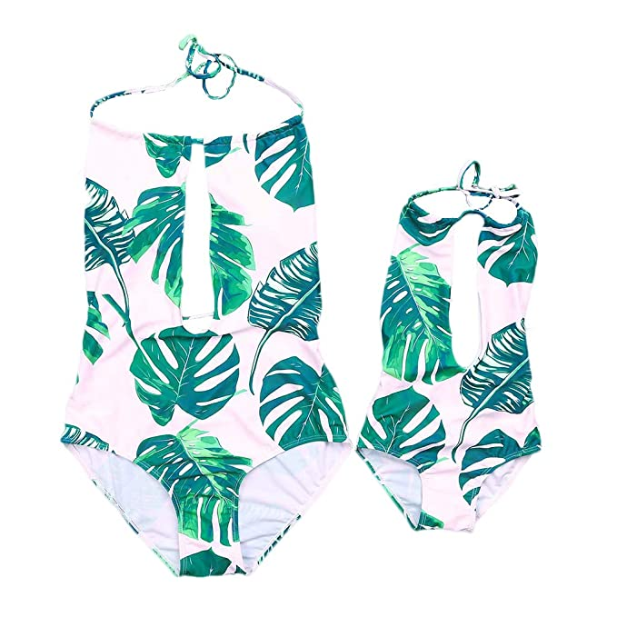 a589821fb9772 Yaffi PatPat Mommy and Me Swimsuit One Piece Tropical Printed Beach Swimwear  Halter Bath Suit Backless Bikini at Amazon Women's Clothing store: