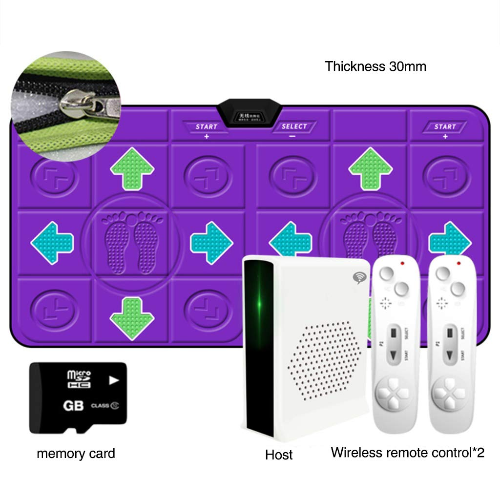 WEWE Thicken Wireless Dance Pad,Children Game Dance Mat Dance Revolution Hd Tv Computer Dual- Motion Fitness Running Mat-g 163x93cm(64x37inch)