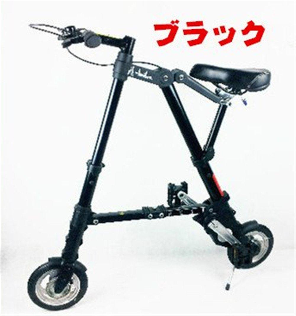 a型bike 折り畳み自転車 8インチ 10インチ 小径 駅通い ピクニック 遠足 収納袋付き B078M1RLPZ 10インチ|ブラック&ノーパンク ブラック&ノーパンク 10インチ