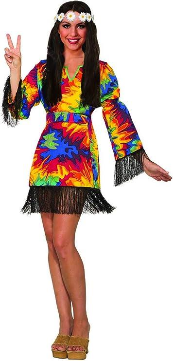 60s Costumes: Hippie, Go Go Dancer, Flower Child, Mod Style Forum Novelties Womens Hippie Tie Dye Costume Fancy Dress Fringes Adult One Size 14/16 $29.95 AT vintagedancer.com